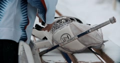 A young ice hockey goaltender in a ready position Stock Footage