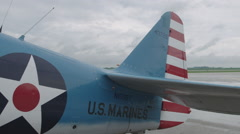 Close-up of tail of North American T-6 Texan warbird - stock footage