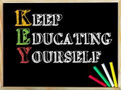 Acronym KEY as KEEP EDUCATING YOURSELF. Written note on wooden frame blackboa - stock photo