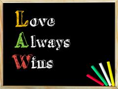 Acronym LAW as LOVE ALWAYS WINS. Written note on wooden frame blackboard, col Stock Photos