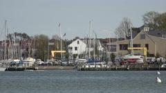 Annapolis Maryland marina sailboats return to harbor 4K 049 Stock Footage
