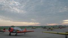 North American T-6 Texan warbirds on Wittman Regional Airport - stock footage