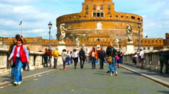 Tourists visit the Castle of the Holy Angel Stock Footage
