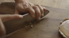 Chopping Pistachios Stock Footage