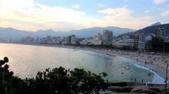 Sunset at the arpoador - the famous Ipanema beach, Rio de   Janeiro, Brazil Stock Footage
