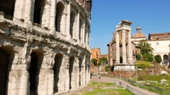 Theatre of Marcellus and the ruins of Temple of Apollo Palatinus - stock footage
