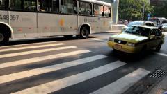 Ipanema, Rio de Janeiro, Brazil. City. Metro. Traffic, cars, taxi, buses. - stock footage