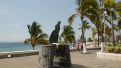 The Malecon, Puerto Vallarta, Jalisco, Mexico - stock footage