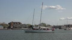 Annapolis Maryland marina cruise sailboat leaves harbor 4K 046 Stock Footage