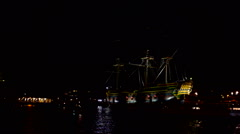 The harbor from Amsterdam in the Netherlands by night at crhistmas - stock footage