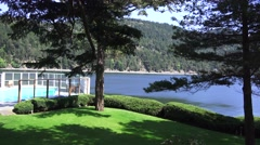 Rosairo Resort , Orcas Island grounds and bay view Stock Footage
