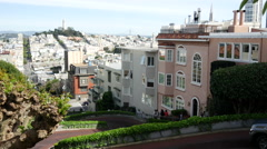 Stock Video Footage of Car driving the famously Lombard Crooked Street in San Francisco