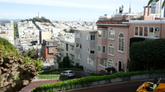 Stock Video Footage of Gocar driving the famously Lombard Crooked Street in San Francisco