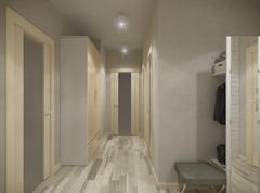 3D illustration of a hall in beige tones - stock illustration