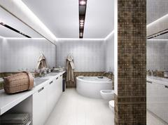 3D rendering of the bathroom in antique style - stock illustration