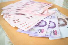 Thai baht banknotes money - stock photo