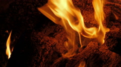 Camp fire at night close up Stock Footage
