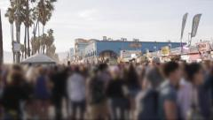 Venice Beach Crowd Pan (Faces blurred) - stock footage
