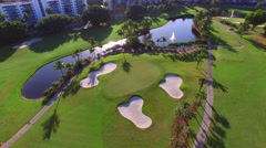 Golf course aerial 4k video 8 - stock footage