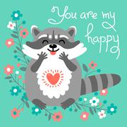 Cute raccoon confesses his love - stock illustration