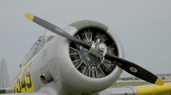 Close-up of North American T-6 Texan warbird - stock footage