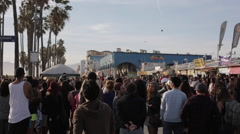 Venice Beach Crowd Pan Stock Footage