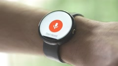 4K Voice Recorder App Round Smartwatch Stock Footage