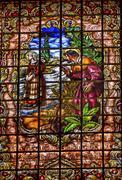 Stained Glass Peter Denial Basilica Santa Iglesia Collegiata de San Isidro Ma Stock Illustration