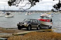 Launching a trailer boat on the boat ramp, town of Russell, Bay of Islands, N Stock Photos