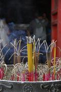 Incense burning outside Pagoda, Hanoi, Vietnam - stock photo