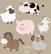 Set of cartoon farm animals - stock illustration