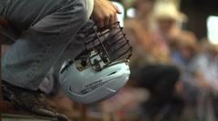 Bull Rider with Helmet Stock Footage