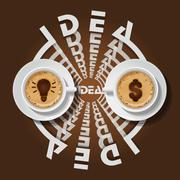 two cups of light bulb and dollar sign in cappuccino - stock illustration