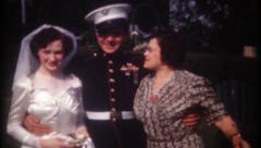 2071 - young marine marries his sweetheart - vintage film home movie - stock footage