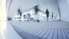 Fast moving people silhouettes in contemporary interior of business center Stock Footage