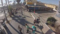 Drone Venice Beach Boardwalk Stock Footage