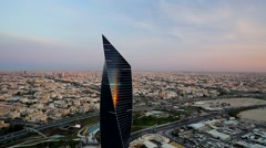 Al Tijaria Tower Kuwait by drone Stock Footage