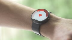 4K Heart Rate Pulse Cheking On Smartwatch Health App Stock Footage