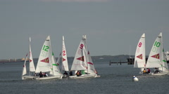 Annapolis Maryland Yacht Club sailboat training youth 4K 044 Stock Footage