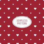 Stock Illustration of Red romantic wedding geometric seamless pattern with hearts. Wrapping paper