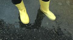 Yellow Boots in Black Rock ICELAND  Stock Footage