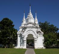 old white asian temple entrance - stock photo