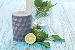 candle bergamot kaffir lime leaves herb fresh ingredient food asian thailand - stock photo