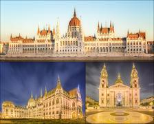 The beauty panorama of attractions Budapest. - stock photo