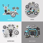 Stock Illustration of Rider Flat Set