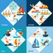 Water Sports Set - stock illustration