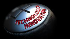 Technological Innovation on Gear Stick with Red Text Stock Illustration