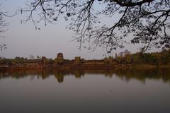 Sunset, tourists at Angkor Wat Stock Photos