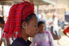 Stock Photo of Traditional Shan red headdress