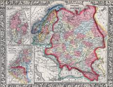 Antique map of Russia in Europe, Sweden, and Norway - stock photo